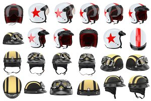Set motorcycle helmets, isolated