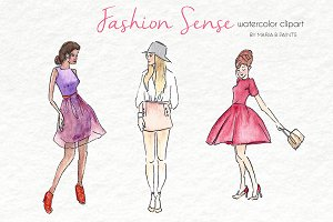 Watercolor Clip Art - Fashion Sense