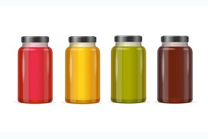 Jar Glass with Jam or Juice. Vector
