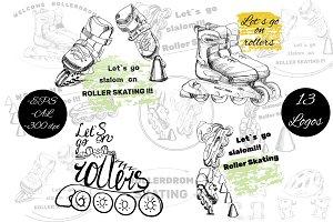 Rollers Skates Slalom Drawing