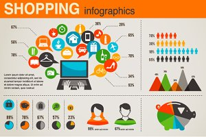 Shopping infographics set