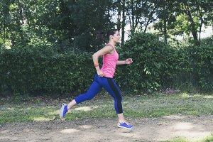 Female athlete training in the park