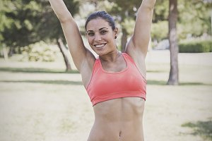 Woman doing fitness outdoor