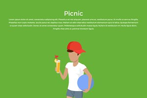 Picnic Boy with Ball and Juice