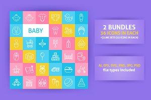 Baby Line Art Icons