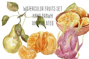 Watercolor fruits hand drawn set
