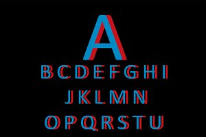 3D font blue and red