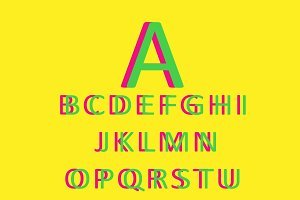 3D font green and yellow