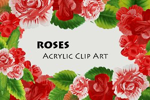 Roses. Acrylic Clip Art