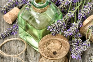 Lavender flowers with herbal oil