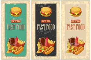 Fast food poster cola, pizza, fries