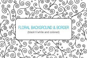 Floral Doodle Background and Frame