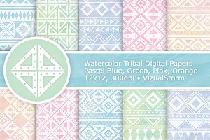 Pastel Watercolor Tribal Patterns