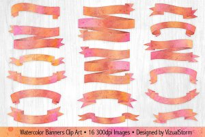 Pink and Orange Watercolor Banners