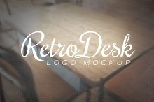 Logo Mockup Retro Desk