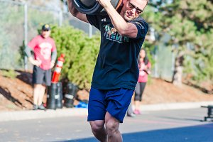Crossfit Barrel Carry - Athletic Man