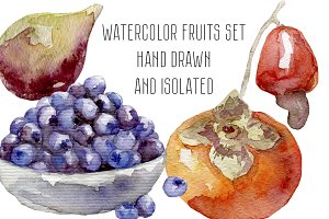 Watercolor fruits and berries set