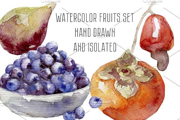 Watercolor fruits and berries set