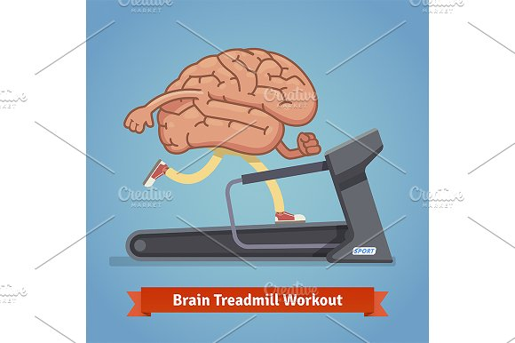 Brain working out on a treadmill
