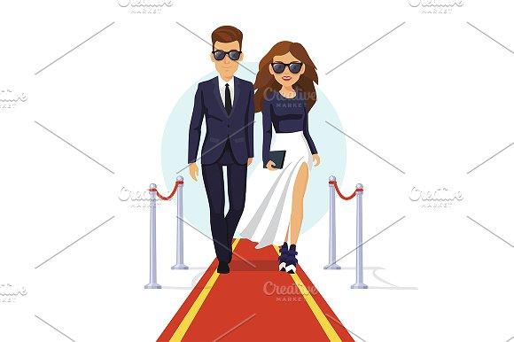 Celebrities walking on a red carpet