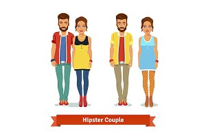 Casual dressed hipster couple
