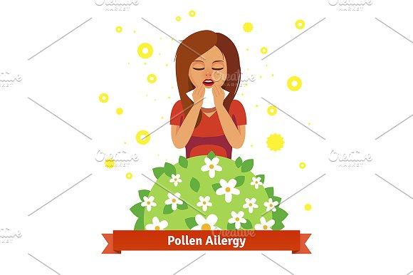 Girl suffering from pollen allergy