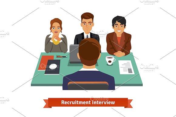 Man having a job Interview in Illustrations