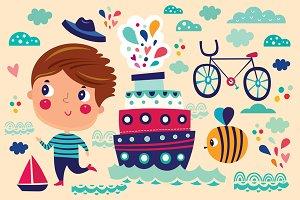 4 Summer Vector Illustrations