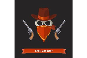 Skull gangster in stetson hat