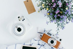 Cameras and flower with tag
