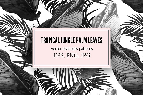 Tropical Palm Leaves Vector Patterns Pre Designed Illustrator Graphics Creative Market Download tropical leaves images and photos. tropical palm leaves vector patterns