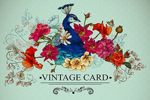 Floral Vintage Card with Peacock.