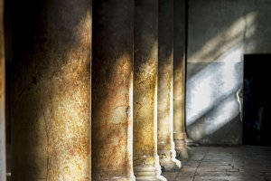 old columns in ancient cathedral