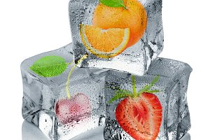 Fruits in ice cubes