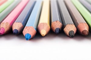 Detail view of color pencils