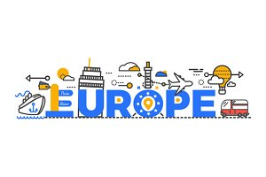 Travel Europe Word Text