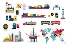 Set of Icons Concept Oil Design