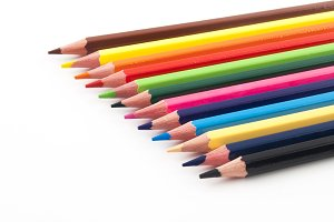 Color pencils in focus