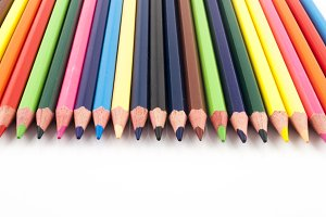 Color pencils in a perfect row