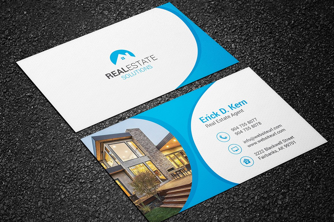 real estate business card business card templates creative market - Real Estate Business Card