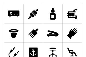Set icons of tattoo equipment