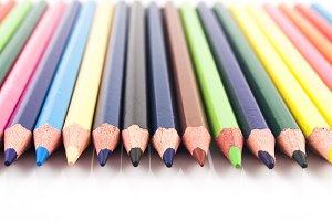 color pencils in perfect row