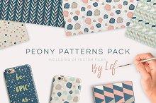 Geometric Peony Floral Pattern Set