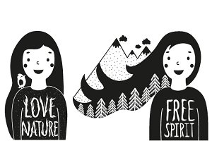 Typography love nature illustrations