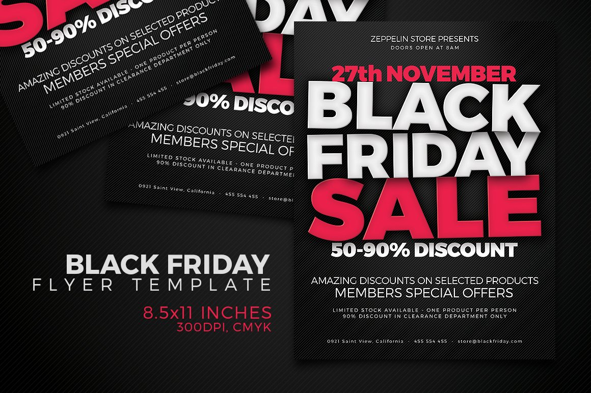 Black Friday Flyer Template Creative Photoshop Templates Creative Market