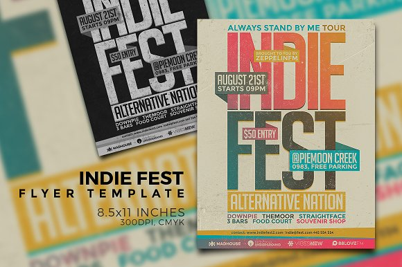 Indie Festival Flyer Template Vol.1 - Flyers