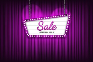 Retro sign with Sale ,vector