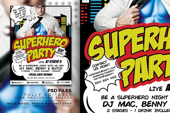 superhero party flyer template flyer templates creative market