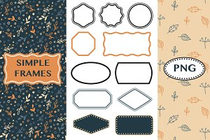 Simple frames and patterns - PNG