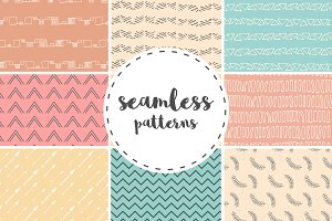 Funny Hand Drawn seamless patterns